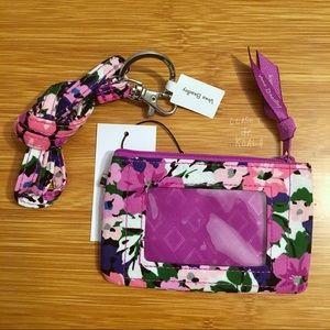 NWT Vera Bradley Zip ID + Lanyard Flower Garden